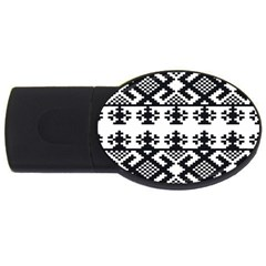 Model Traditional Draperie Line Black White Triangle Usb Flash Drive Oval (4 Gb)