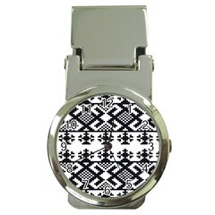 Model Traditional Draperie Line Black White Triangle Money Clip Watches