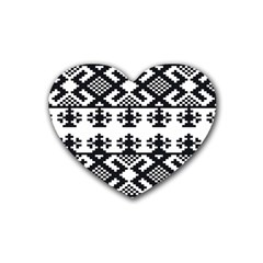 Model Traditional Draperie Line Black White Triangle Heart Coaster (4 Pack)