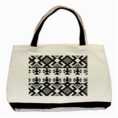 Model Traditional Draperie Line Black White Triangle Basic Tote Bag (two Sides)