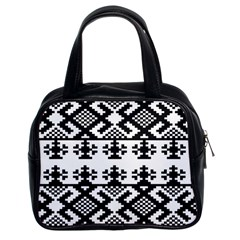 Model Traditional Draperie Line Black White Triangle Classic Handbags (2 Sides)