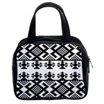 Model Traditional Draperie Line Black White Triangle Classic Handbags (2 Sides) Front