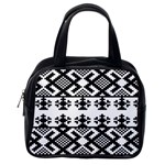 Model Traditional Draperie Line Black White Triangle Classic Handbags (2 Sides) Back