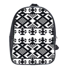 Model Traditional Draperie Line Black White Triangle School Bag (large)