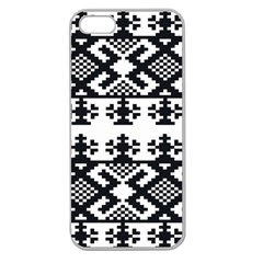Model Traditional Draperie Line Black White Triangle Apple Seamless Iphone 5 Case (clear)