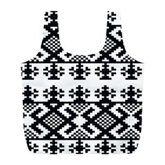 Model Traditional Draperie Line Black White Triangle Full Print Recycle Bags (l)