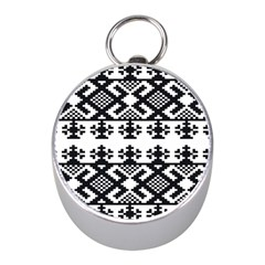 Model Traditional Draperie Line Black White Triangle Mini Silver Compasses