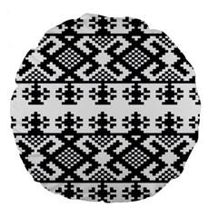 Model Traditional Draperie Line Black White Triangle Large 18  Premium Flano Round Cushions