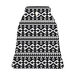 Model Traditional Draperie Line Black White Bell Ornament (two Sides)