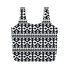 Model Traditional Draperie Line Black White Full Print Recycle Bags (m)