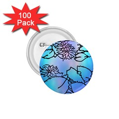 Lotus Flower Wall Purple Blue 1 75  Buttons (100 Pack)