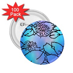 Lotus Flower Wall Purple Blue 2 25  Buttons (100 Pack)
