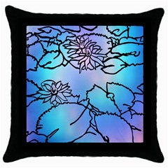 Lotus Flower Wall Purple Blue Throw Pillow Case (black)