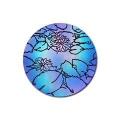 Lotus Flower Wall Purple Blue Rubber Coaster (round)