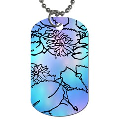 Lotus Flower Wall Purple Blue Dog Tag (two Sides)