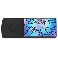 Lotus Flower Wall Purple Blue Rectangular Usb Flash Drive