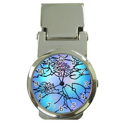Lotus Flower Wall Purple Blue Money Clip Watches
