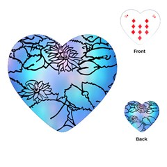 Lotus Flower Wall Purple Blue Playing Cards (heart)