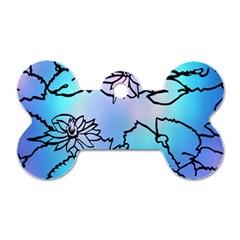 Lotus Flower Wall Purple Blue Dog Tag Bone (two Sides)