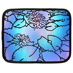 Lotus Flower Wall Purple Blue Netbook Case (large)