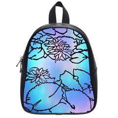 Lotus Flower Wall Purple Blue School Bag (small)