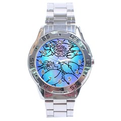 Lotus Flower Wall Purple Blue Stainless Steel Analogue Watch