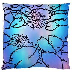 Lotus Flower Wall Purple Blue Large Cushion Case (two Sides)