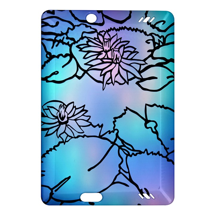 Lotus Flower Wall Purple Blue Amazon Kindle Fire HD (2013) Hardshell Case
