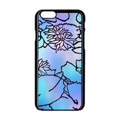 Lotus Flower Wall Purple Blue Apple Iphone 6/6s Black Enamel Case