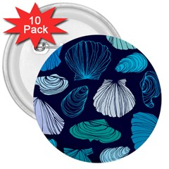 Mega Menu Seashells 3  Buttons (10 Pack)