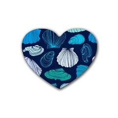 Mega Menu Seashells Rubber Coaster (heart)