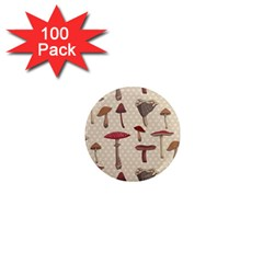Mushroom Madness Red Grey Brown Polka Dots 1  Mini Magnets (100 Pack)