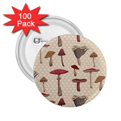 Mushroom Madness Red Grey Brown Polka Dots 2 25  Buttons (100 Pack)