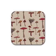 Mushroom Madness Red Grey Brown Polka Dots Rubber Square Coaster (4 Pack)