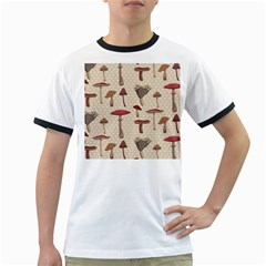 Mushroom Madness Red Grey Brown Polka Dots Ringer T Shirts