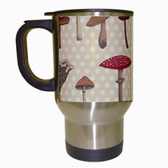 Mushroom Madness Red Grey Brown Polka Dots Travel Mugs (white)