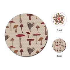 Mushroom Madness Red Grey Brown Polka Dots Playing Cards (round)