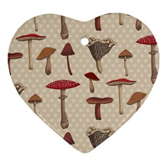 Mushroom Madness Red Grey Brown Polka Dots Heart Ornament (two Sides)