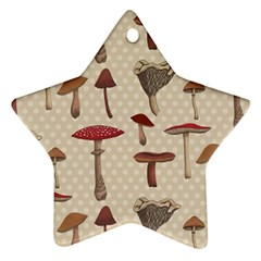 Mushroom Madness Red Grey Brown Polka Dots Star Ornament (two Sides)