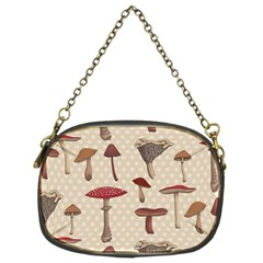 Mushroom Madness Red Grey Brown Polka Dots Chain Purses (two Sides)