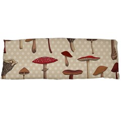 Mushroom Madness Red Grey Brown Polka Dots Body Pillow Case Dakimakura (two Sides)