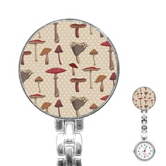 Mushroom Madness Red Grey Brown Polka Dots Stainless Steel Nurses Watch