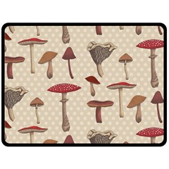 Mushroom Madness Red Grey Brown Polka Dots Double Sided Fleece Blanket (large)