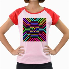 Optical Illusion Line Wave Chevron Rainbow Colorfull Women s Cap Sleeve T Shirt