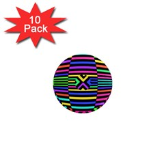 Optical Illusion Line Wave Chevron Rainbow Colorfull 1  Mini Magnet (10 Pack)