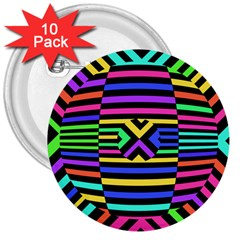 Optical Illusion Line Wave Chevron Rainbow Colorfull 3  Buttons (10 Pack)