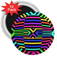 Optical Illusion Line Wave Chevron Rainbow Colorfull 3  Magnets (10 Pack)