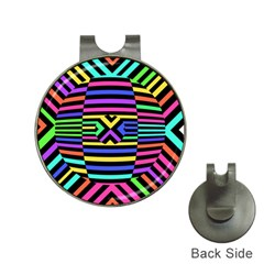 Optical Illusion Line Wave Chevron Rainbow Colorfull Hat Clips With Golf Markers
