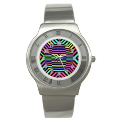 Optical Illusion Line Wave Chevron Rainbow Colorfull Stainless Steel Watch
