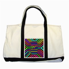 Optical Illusion Line Wave Chevron Rainbow Colorfull Two Tone Tote Bag